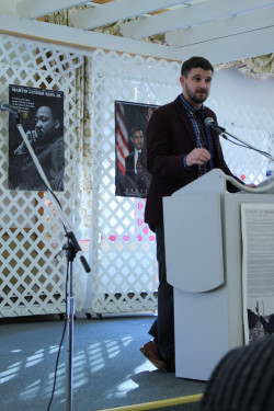 Pat Nugent, deputy director of the Starr Center for the Study of the American Experience, speaks at the annual MLK Breakfa...